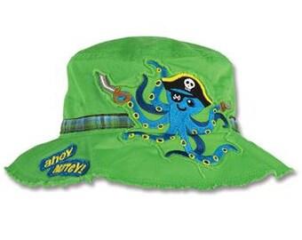 TODDLER Stephen Joseph Octopus Pirate Bucket Hat, Children's Bucket Hat, Kids Hat.