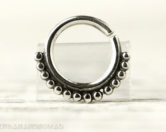 Septum Ring Piercing Nose Ring Body Jewelry Sterling Silver Bohemian Fashion Indian Style 16g 14g - SE002