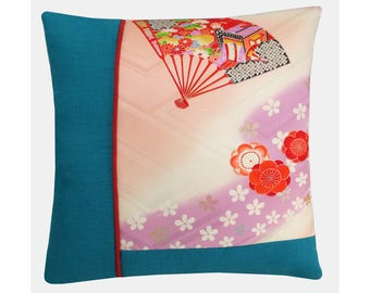Turquoise and Pink Decorative Pillow, Oriental Floral Cushion Cover, Japanese Decor, Christmas Gift Ideas - Free Shipping UK