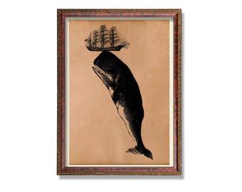Nautical print Sea vintage decor Whale Ship poster