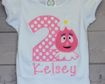 Personalized Birthday Monster Head with Daisy Applique Shirt or Bodysuit Girl or Boy