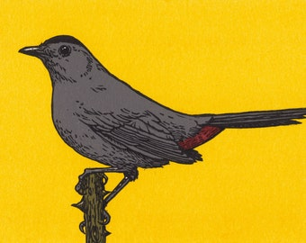 Gray Catbird linocut