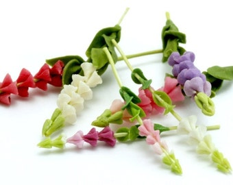 Miniature Polymer Clay Flowers Supplies for Dollhouse, Foxglove 3 stems assorted