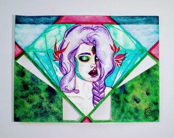 """Watercolor """"Mermaid woman"""". Original painting"""