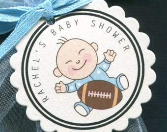 Personalized Baby Shower Favor Tags Baby Boy In Dotted Sleeper With Football, Set of 50 Round Scallop Tags