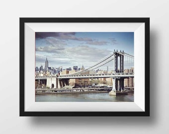 New York Photo Fine Art Print - Manhattan Bridge From Brooklyn Bridge Empire State Building New-York Photo Cityscape Color Poster Wall Art