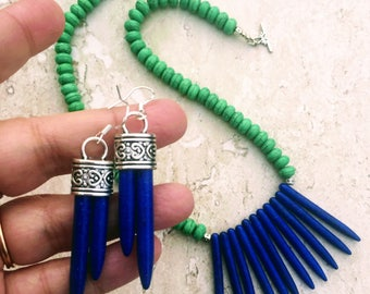 Blue Spike Necklace, Green Blue Necklace Collar Necklace, Blue Earrings, Spike Earrings, Spike Jewelry, Long Blue Earrings, Trendy Jewelry