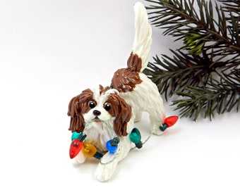 Cavalier King Charles Spaniel Blenheim Porcelain Christmas Ornament Figurine OOAK