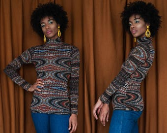 Frequency Turtleneck Psychedelic 70's Print Long Sleeve XS S M L XL XXL
