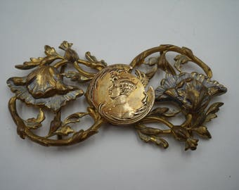 Art nouveau pressed metal buckle poppies and a prince F655