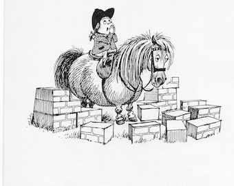 Thelwell print, patience,  1962 vintage print of Norman Thelwell's cartoon pony prints