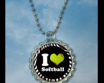1 I love Softball Bottlecap Necklace,GLITTER or Plain, softball gifts, softball team, softball gift, softball necklaces, team gift