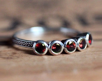 5 stone ring, red garnet ring silver, five stone ring, anniversary ring, anniversary band for her, anniversary rings for her, custom