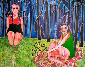 Large Acrylic Painting Mixed Media Canvas Painting Figurative Original Artwork Surreal Art Naive Childlike Girls in the Trees jamie hudrlik