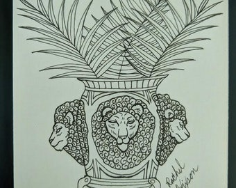 Lions With Palm Fronds - Unframed Original Artwork 3x3in