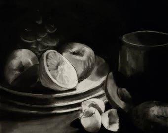 "Charcoal still life, PRINT: ""After Breakfast"" 2017"