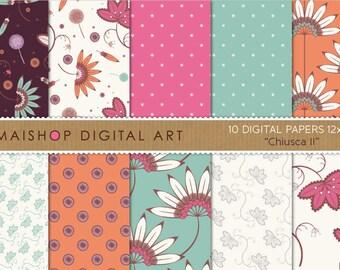 Floral Digital Paper 'Chiusca II' Blue, Green, Pink, Orange, Lilac... High Resolution Digital Sheets for Scrapbook, Decoupage...