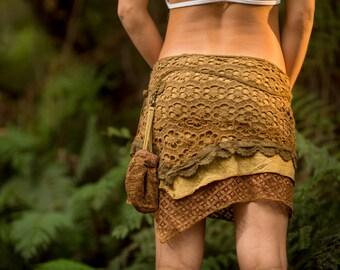 Yara Skirt (Masala) - Festival Clothing Gypsy Bohemian Skirt Hippie Lace Crochet Midi Knee Goa Ethnic Nomadic Boho