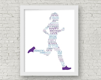 Birthday Gift for Her -- Running Print -- Framed Runner Artwork -- Running Typography --