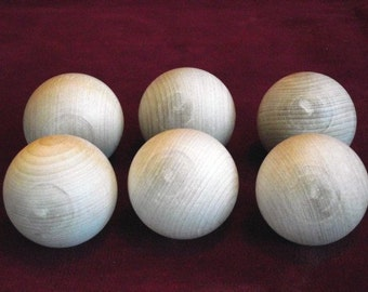 6  No. 2 Commercial 2 inch Diameter Hardwood Ball, Unfinished
