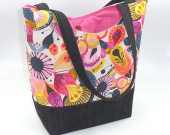 """Signature Tote stylish craft Bag for travel in cotton and Denim fabrics """"Popular"""" pink and black by Joella Hill Designer Australian Seller"""