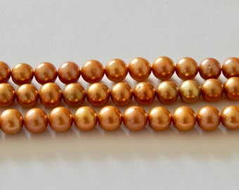 8mm FW Pearls Dark Champagne Rounds