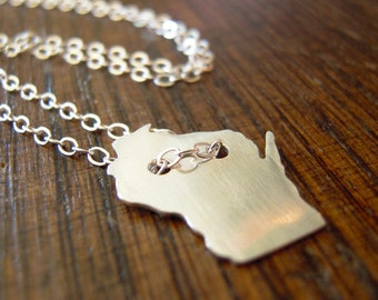 Wisconsin necklace, sterling silver WI necklace, hand-cut in Madison WI, state silhouette necklace.