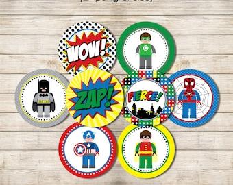 "Printable 2"" Party Circles - Superhero Building Block"