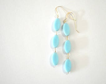 Oval Turquoise Vintage Bead Sterling Silver Dangle Earrings