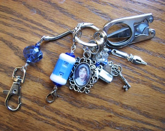 Jane Austen Knitter's Chatelaine with Non-Snag Stitch Markers, Row Counter & Folding Scissors on a Decorative Clasp