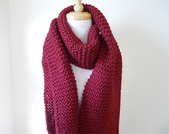Long Scarf Chunky Knit Scarf Unisex Scarf Mens Scarf Womens Scarf Warm Winter Scarf in Burgundy 9 x 68 - Ready to Ship