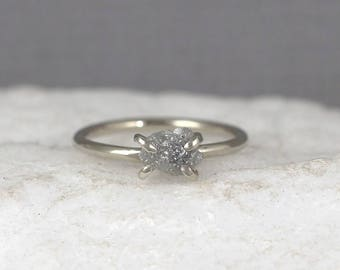 14K White Gold Rough Diamond Ring - Raw Diamond Engagement Ring -  - Stacking Rings - April Birthstone - Uncut Diamond - Made in Canada