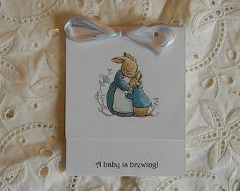 Baby Shower- Tea Bag Favors- Peter Rabbit Hugging Momma Rabbit