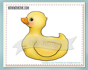 Digital Stamp - Ducky - yellow rubber duck or baby duckling - printable image