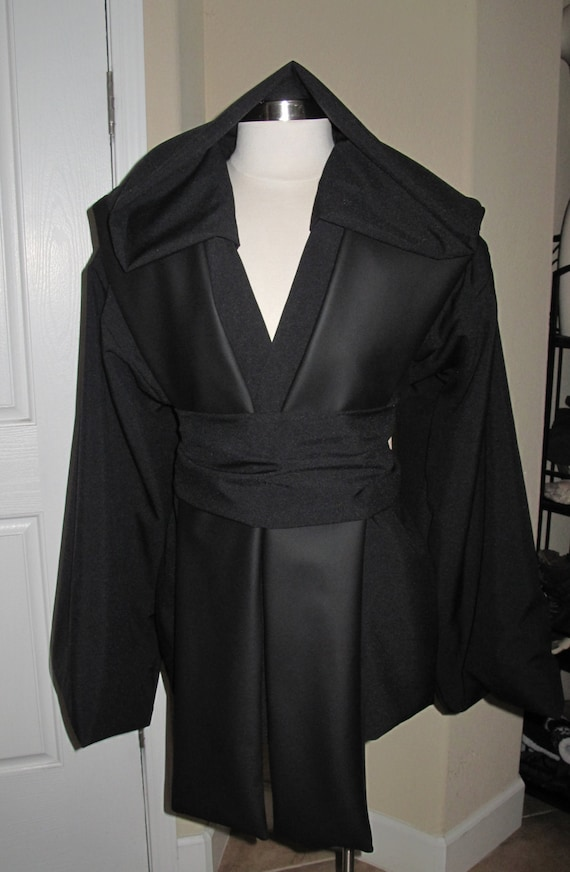Cosplay Sith black suiting hooded tunic & sash, black pleather tabards  costume in 6 sizes