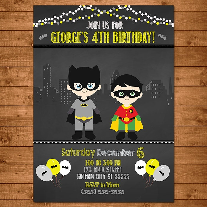 Batman Robin Superhero Invitation Chalkboard Theme Batman