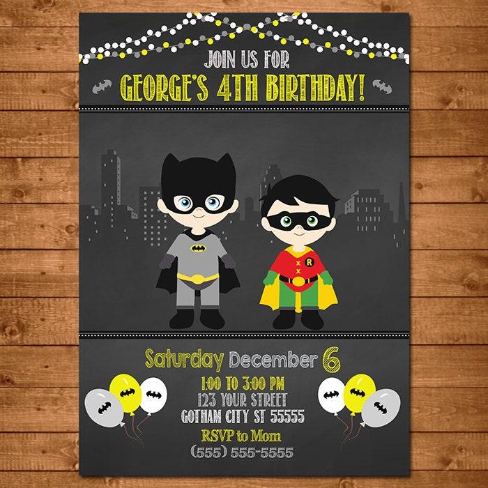 Batman Robin Superhero Invitation Chalkboard Theme Batman