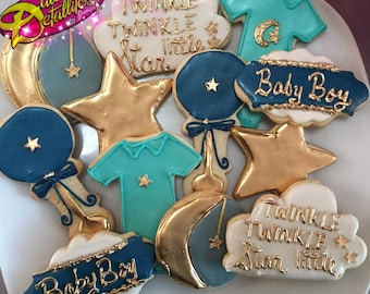 Twinkle Twinkle little Star cookies; star cookies; gold cookies; baby shower cookies; shower cookies; baby cookies (12 qty)