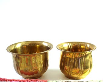 vintage brass planter set of 2, textured India brass plant pots