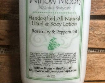 All Natural Cocoa  Butter Hand and Body Lotion Rosemary and Peppermint