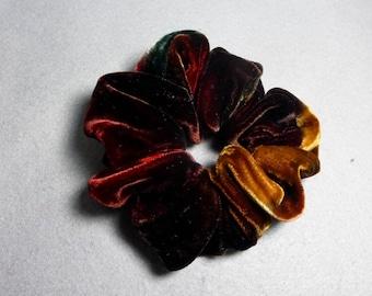 "Velvet Hair Scrunchie ""Brown and Rust"", Hand Painted Velvet Scrunchie, Brown Velvet Scrunchie"