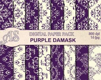 Digital Floral Purple Damask Paper Pack, 16 printable Digital Scrapbooking papers, damask Digital Collage, Instant Download, set 305