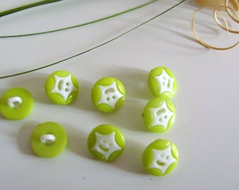 8 buttons round fantasy Star Green pomme14mm