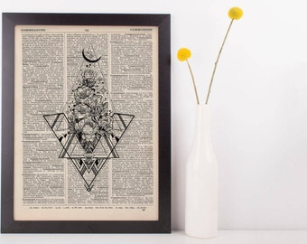 Flowers Diamond and Triangles Dictionary Print