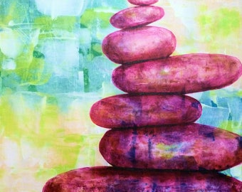 Balance III acrylic painting, a serene, peaceful acrylic original painting