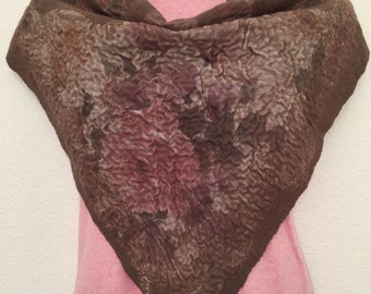 Kerchief Bactus Scarf Triangle shape Light Brown Rose Nuno felt merino wool silk Gift for her any occasion
