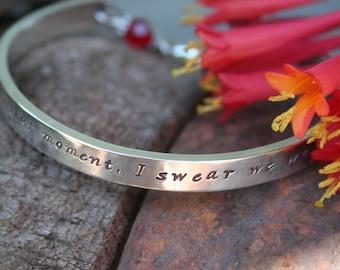 Handstamped Bracelet -  Sterling silver cuff bracelet