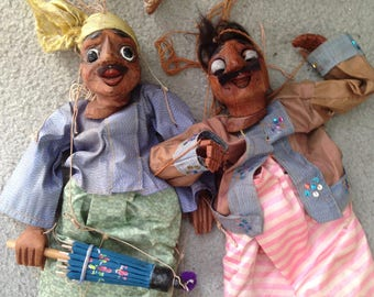 Vintage Pair Hand-Made Wood Large Marionette Puppets