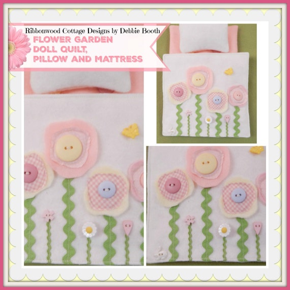 "Sewing Pattern PDF - Flower Garden Wool Doll Quilt Mattress and Pillow 8""-10"" doll size"