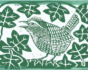 Wren linocut hand printed card